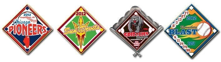 baseball quick trading pins. They can be made and shipped to you in as little as 4 business days.