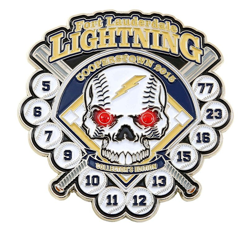 Lightning Soft Enamel Baseball Trading Pin Example