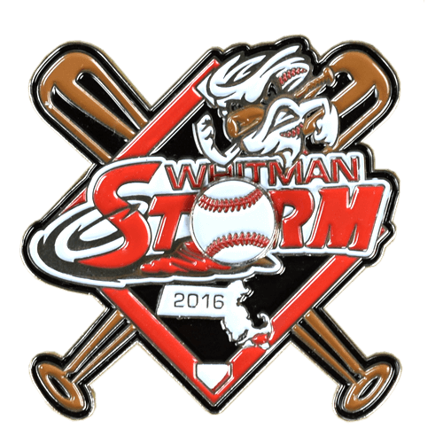 Whitman Storm Baseball Trading Pin Design